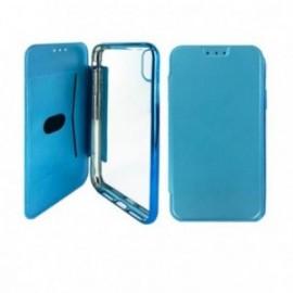Etui Iphone XR 6,1 Folio ultra fin bleu avec coque souple transparente
