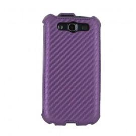 Etui Samsung i9300 Galaxy S3 aspect carbone violet