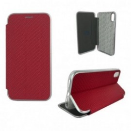Etui pour Iphone XR 6,1'' Folio imitation carbone rouge