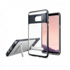 Coque pour Samsung S10 Plus Noir Hybrid avec support stand aimanté en métal