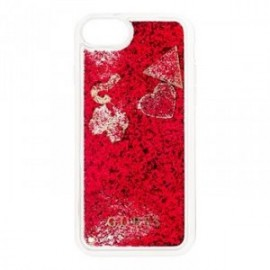 Coque pour Iphone 7/8 Guess liquid glitter Coeur rouge