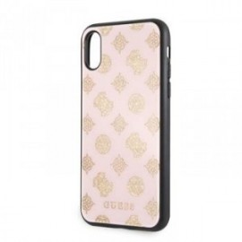 Coque pour iPhone X/XS Guess Layer Paillette Peony rose clair