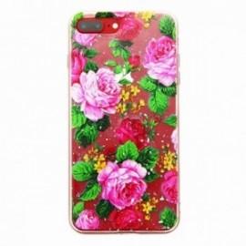 Coque pour Iphone 7 plus / 8 plus gel Fleurs roses