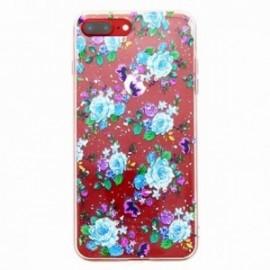 Coque pour Iphone 7 plus / 8 plus gel Fleurs bleues