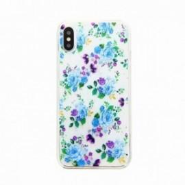 Coque pour Iphone X/XS gel Fleurs bleues