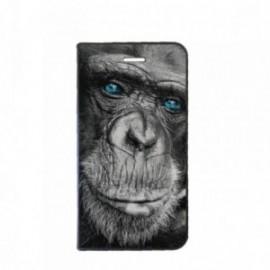 Etui Huawei Psmart Plus 2019 Folio motif Singe aux Yeux bleus