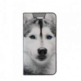 Etui Huawei Psmart Plus 2019 Folio motif Husky aux Yeux bleus