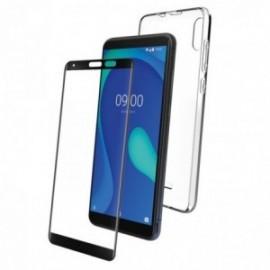 Pack pour Wiko Y80 coque transparente + verre trempé