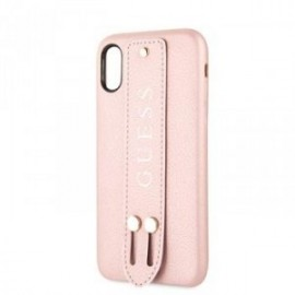 Coque pour Iphone XS Max 6,5 Guess Saffiano Strap rose