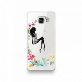 Coque pour Samsung A90 motif Silhouette Corps Femme Fleuri