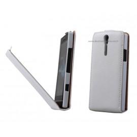 Etui Sony Xperia Sola MT27i cuir blanc