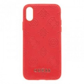 Coque pour iPhone XRGuess Debossed Peony Kryt rouge
