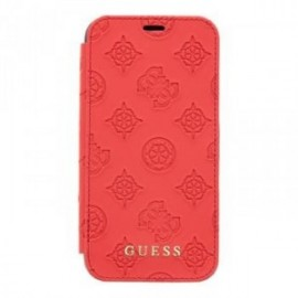 Etui pour iPhone X/XS Guess Debossed Peony Book Pouzdro rouge