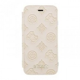 Etui pour iPhone X/XS Guess Debossed Peony Book Pouzdro Latte