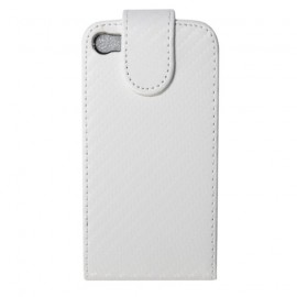 Etui iphone 4 et 4s aspect carbone blanc