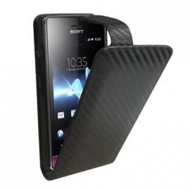 Etui Sony Xperia Miro noir façon carbone