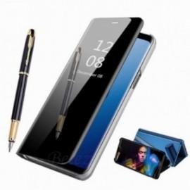 Etui stand folio effet miroir noir pour Samsung Note 10