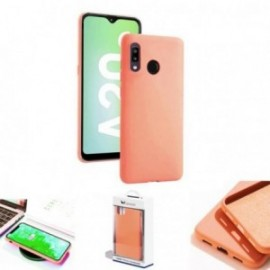 Coque toucher rubber rose pour Samsung A20E