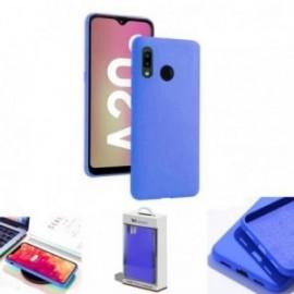 Coque toucher rubber bleu pour Samsung A20E