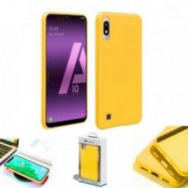Coque toucher rubber jaune pour Samsung A10