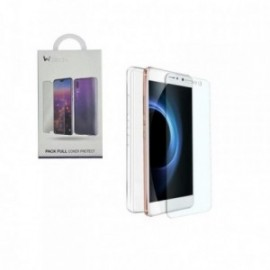 Kit coque souple transparente + verre trempé pour Samsung A8 2018