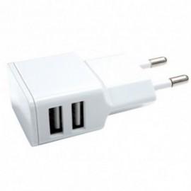 Chargeur Secteur Double USB 2.4A Blanc