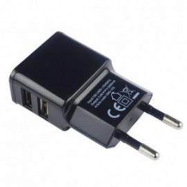 Chargeur Secteur Double USB 2.4A Noir