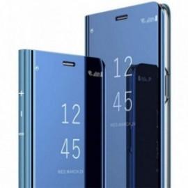 Etui pour Samsung S7 Edge folio effet miroir bleu stand vidéo