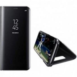 Etui pour Samsung S7 Edge folio effet miroir noir stand vidéo