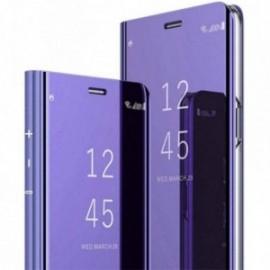 Etui pour Samsung S7 Edge folio effet miroir violet stand vidéo