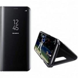 Etui pour Samsung S10 folio effet miroir noir stand vidéo