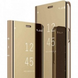 Etui pour Sony Xperia XZ3 folio effet miroir doré stand vidéo