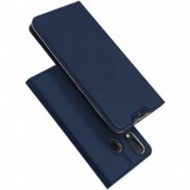 Etui pour Samsung A8 2018 folio support porte carte bleu nuit