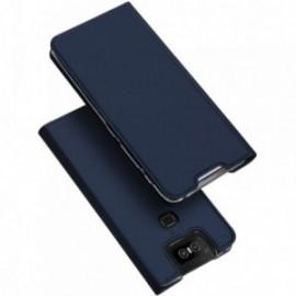 Etui pour Zenfone 6 ZS630KL folio support porte carte bleu nuit