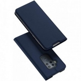 Etui pour Motorola One zoom folio support porte carte bleu nuit