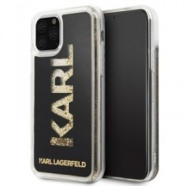 Coque pour Iphone 11 Karl Lagerfeld liquid Paillettes logo or