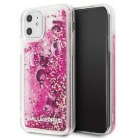 Coque pour Iphone 11 Karl Lagerfeld Paillettes flottantes rose