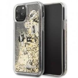 Coque pour Iphone 11 Pro Karl Lagerfeld Paillettes flottantes doré