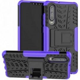 Coque pour Huawei P30 Anti chocs stand béquille violet / noir