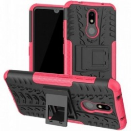 Coque pour Nokia 7.1 Anti chocs stand béquille noir / rose