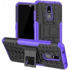 Coque pour Nokia 7.1 Anti chocs stand béquille noir / violet
