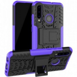 Coque pour Huawei Psmart 2019 / Honor 10 lite Anti chocs stand béquille violet / noir
