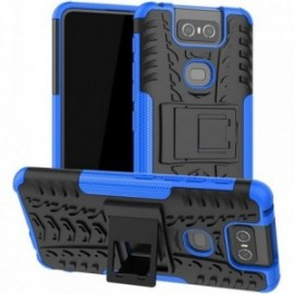 Coque pour Asus Zenfone 6 ZS630KL Anti chocs stand béquille bleue / noir