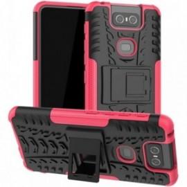 Coque pour Asus Zenfone 6 ZS630KL Anti chocs stand béquille rose / noir