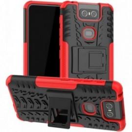Coque pour Asus Zenfone 6 ZS630KL Anti chocs stand béquille rouge / noir
