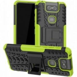Coque pour Asus Zenfone 6 ZS630KL Anti chocs stand béquille vert / noir