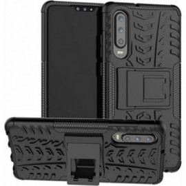 Coque pour Huawei P30 lite Anti chocs stand béquille noire