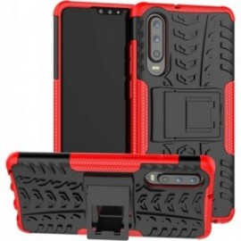 Coque pour Huawei P30 lite Anti chocs stand béquille rouge / noir