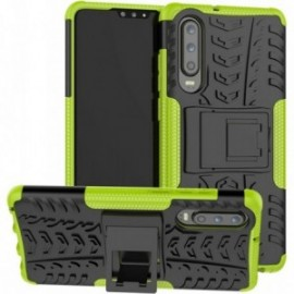 Coque pour Huawei P30 Pro Anti chocs stand béquille vert / noir