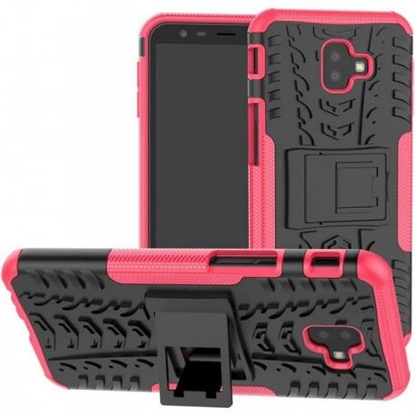 Coque pour Samsung J8 2018 Anti chocs stand béquille rose / noir
